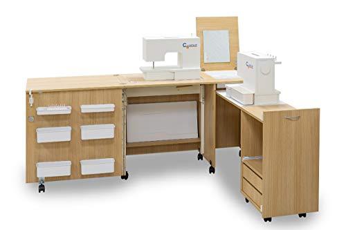 Comfort 3 | Muebles para máquinas de coser y overlock | (Beech Ellmau, M (Air-Lifter to 10kg))