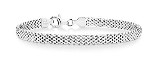 Miabella 925 Sterling Silver Italian 5mm Mesh Link Chain Bracelet for Women, 6.5, 7, 7.5, 8 Inch Made in Italy (7.0 Inches)