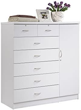 Hodedah 7 Drawer Jumbo Chest Five Large Drawers Two Smaller Drawers with Two Lock Hanging Rod product image