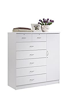 Hodedah 7 Drawer Jumbo Chest Five Large Drawers Two Smaller Drawers with Two Lock Hanging Rod and Three Shelves   White