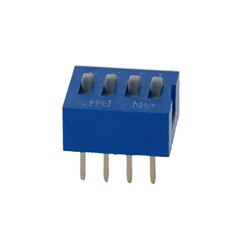 Fielect 8 interruptores DIP azules de palanca horizontal de 1 a 4 posiciones, paso de 2,54 mm para circuitos de placas de circuito PCB