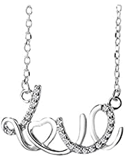 S925 Sterling Silver Simple LOVE Clavicle Chain Necklace For Women