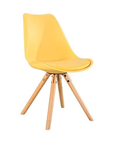 Pack de 4 sillas nórdicas amarillas estilo Eames