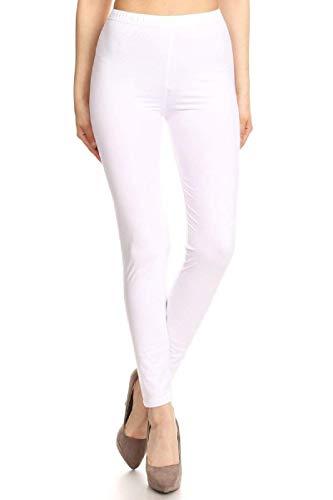 FUNGO Leggings Femmes Long Leggins De Sport Yoga Fitness Pantalon (42, Blanc)