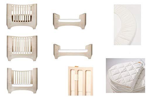 White wash Leander Lit bébé et enfant + 1 lot (= 2 pièces) de draps-housses originaux dans la taille de bébé + 1 surmatelas de la taille bébé + tour de lit pour bébé en couleur vanille crème