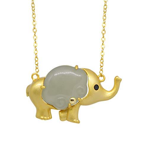 JHFVN Collar con Colgante de Elefante Dorado pequeño Chapado en Oro Amarillo 925, Collar de Elefante de Jade Collar con Colgante de la Suerte de Jade para Hombres y Mujeres