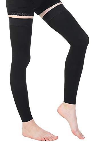 Ztl Medias de alta compresión para muslo para mujer y hombre, 30-40 mmHg, XL, Negro (sin pies), 1