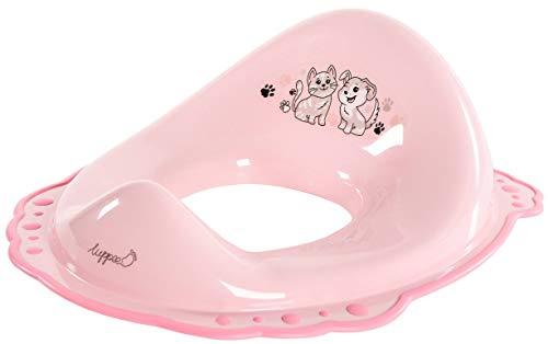 LUPPEE Kinder-Toilettensitz mit Anti-Rutsch-Funktion, Toilettensitz Kinder, wc Sitz Kinder, für Babys und Kinder Ab ca. 18 Monate bis ca. 4 Jahre, Hund und Katze, Pink