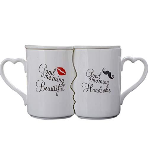 LKXHarleya Creative Kissing Mugs Set, Ceramic Couple Coffee Mug with Lid - Good Morning Beautiful...