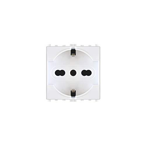 LineteckLED -TOT615B- Serie Completa Materiale Elettrico Fai da Te- Presa Schuko 2.0 16A 250V Bianca Compatibile vimar