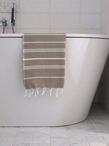 Hamam Handdoek Olijfgroen Met Witte Strepen 100x50cm - sneldrogende handdoeken - saunadoek - kleine hamamdoek - reishanddoek - zwem handdoek