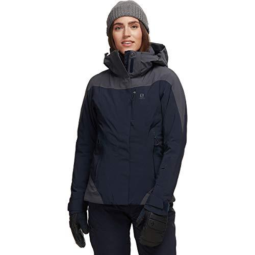 SALOMON Icerocket Jkt W Chaquetón con Capucha para esquí, Mezcla de sintéticos, Mujer, Azul/Gris (Night Sky/Ebony), M