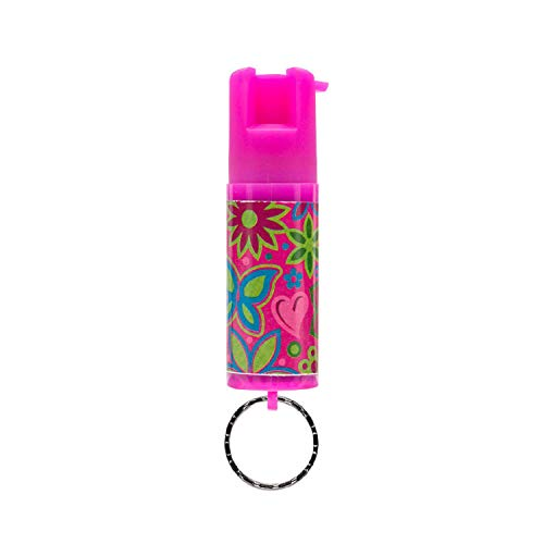 SABRE RED Pepper Spray Keychain for Women – Mini Case with Cute Design, Reinforced Twist Lock Prevents Accidents, Same Maximum Strength Formula Used by Police, 10-Foot (3M) Range with 25 Bursts, Pink Floral Print Pepper Spray