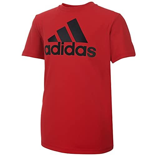 adidas Boys' Big Short Sleeve AEROREADY Performance Logo Tee T-Shirt, Scarlet, X-Large