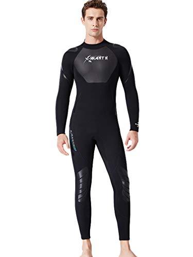 YuanDian Hombre Mujer Invierno 3mm Trajes De Neopreno Buceo Elastic Termica Manga Larga Una Pieza Submarinismo Traje De Buzo Surf Natacion Triathlon Snorkel Mono Traje De Buzo Hombre Negro L