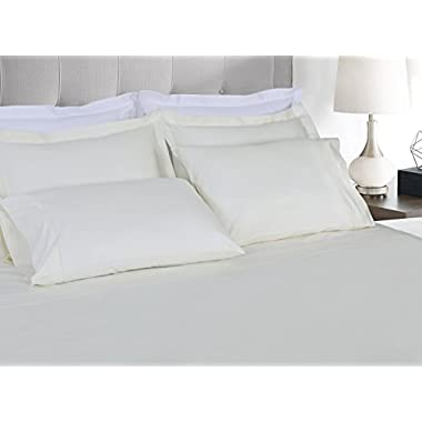 Threadmill Home Linen 800 Thread count bedding collection 100% ELS Cotton Solid Sateen Sheet Set, Luxury Bedding, 4 Piece Set, Bed sheets, Smooth Sateen Weave, King, Ivory