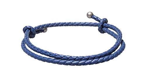 Ion Loop SlideKnot Leather Bracelet (Blue, One-Size/Adjustable)