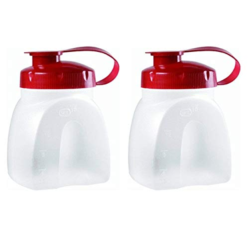 Rubbermaid MixerMate Servin' Saver Pint Bottle (2-Pack), Red, Clear