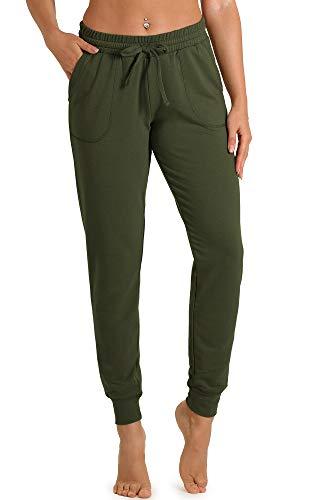 icyzone Damen Hose Jogginghose Lang Sweathose - Sporthose Trainingshose Running Gym Pants (M, Army)