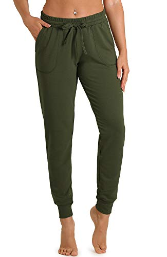 icyzone Damen Hose Jogginghose Lang Sweathose - Sporthose Trainingshose Running Gym Pants (M, Army)