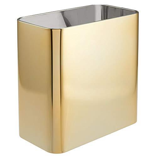 mDesign rechteckiger Mülleimer – kompakter Abfalleimer für Bad, Büro und Küche mit ausreichend Platz für den Müll – Papierkorb aus Metall – goldfarben