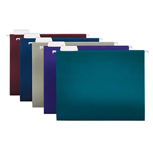 Office Depot 2-Tone Hanging File Folders, 1/5 Cut, 8 1/2in. x 11in, Letter Size, Assorted Colors, Box of 25, OD81667