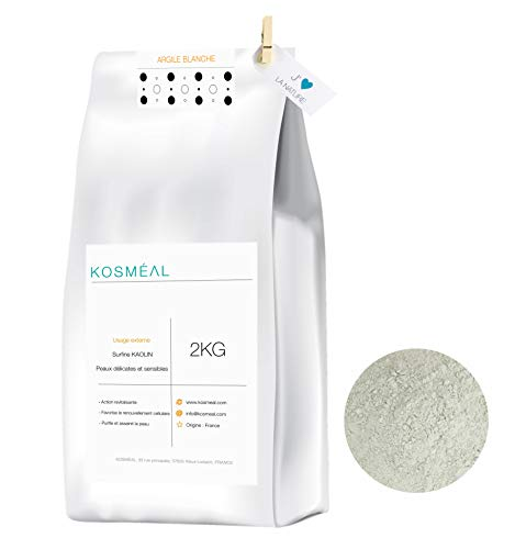 Argilla Bianca in Polvere Ventilata Francese 2KG - 100% Puro E Naturale - Imballaggio Ecologico Carta Kraft Bianca