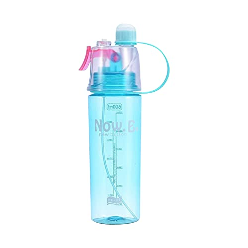 Water Bottle with Straw, 20oz Motivational Sports Water Bottle with Spray Handle - Non-Toxic Plastic, BPA Free, Wide Mouth Leakproof, for Camping Sports Workouts and Outdoor Activity (Blue)