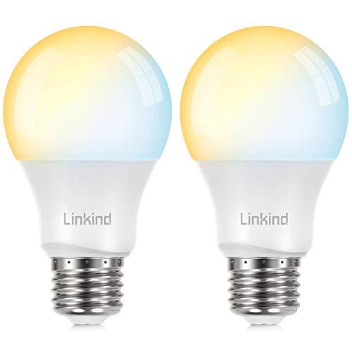 Linkind Pack de 2 bombillas LED inteligentes E27 de 9 W, temperatura de color y brillo controlables mediante aplicación, compatible con Philips Hue y Alexa (requiere concentrador)