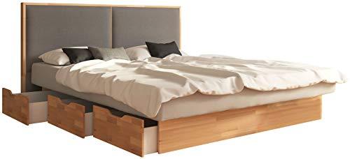 SuMa - Doppel-Wasserbett 200x200 dual mit 6 großen Schubladen im Sockel Kernbuche und Kopfteil Duetto, Farbe lightgrey 200x200 cm - 11 Farben wählbar
