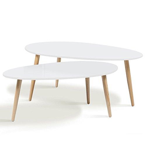 IDMarket - Lot de 2 Tables Basses gigognes Gigi laquées Blanc scandinave