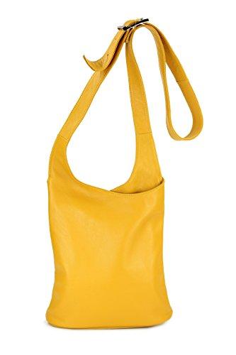 Belli Cross Bag Classic italienische Umhängetasche Damen Ledertasche Handtasche Cross Over Bag in gelb - 24x28x8 cm (B x H x T)