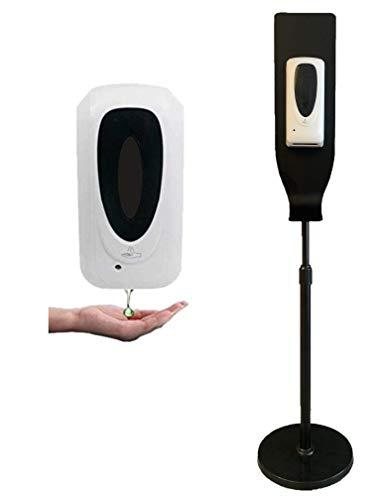 Automático Dispensador de Gel Hidroalcohólico de la Mano con el Soporte de Suelo, Capacidad 1000 ml, Soporte ajustable inducción de Pie, Jabón, Baño