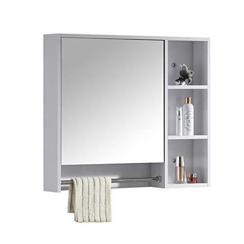 Miroir de Salle de Bains Armoire Miroir boîte Mur Salle de Bain Miroir Armoire avec étagère Salle de Bain Tenture Murale Solide Bois Miroir Armoire de Stockage (Color : Blanc, Size : 70 * 70 * 14cm)