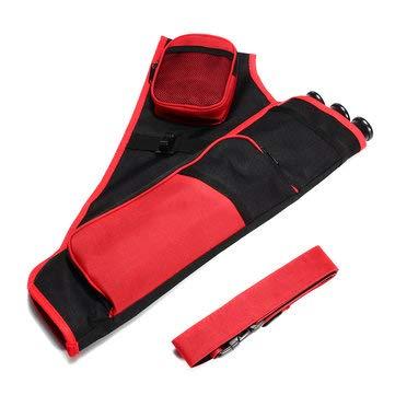 ExcLent Bolso Con Soporte De Tiro Con Arco De Cadera De 3 Tubos Con Cinturón De Cintura Ajustable Negro - rojo