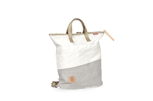 360° Ketsch Mini Rucksacktasche aus Segeltuch mit Schultergurt, Recycling Seesack Shopper Bag, Schultertasche Hobo Bag für Shopping und Strand mit Balken grau