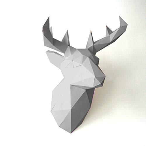 Trophée animal Cerf - Papier Origami 3D (Blanc)