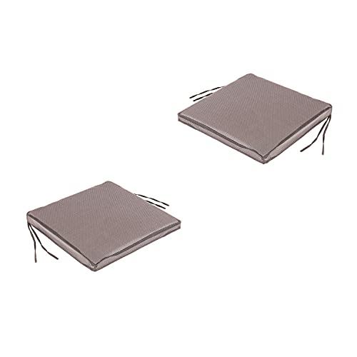 Lot de 2 Coussins de siège textilene Couleur Noir pour chaises et fauteuils de Jardin | Dimensions: 44x44x5 cm | Tissu antitâches | Déhoussable | Livraison Gratuite