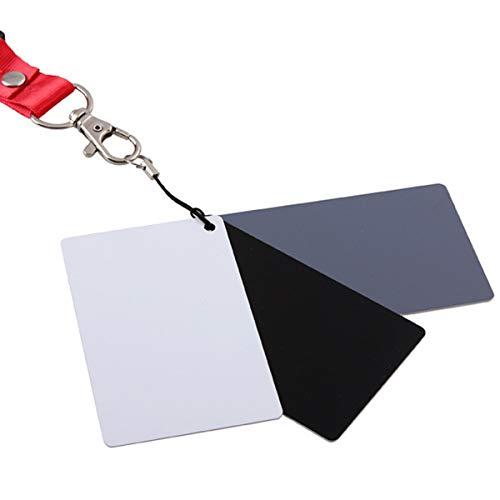 HaiQianXin 3 in 1 Weiß Schwarz Grau Balance Karten 18 Grad Gray Card S/L Größe mit Umhängeband Fotografie Zubehör für Digitalkameras (Size : 8.5 * 5.4cm(S))