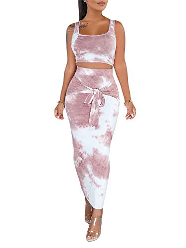 Two Piece Outfits for Women Sexy Sleeveless Tie Dye Print Tank Crop Top 2 Piece Skirts Set Bodycon Dress Outfits Yellow Small