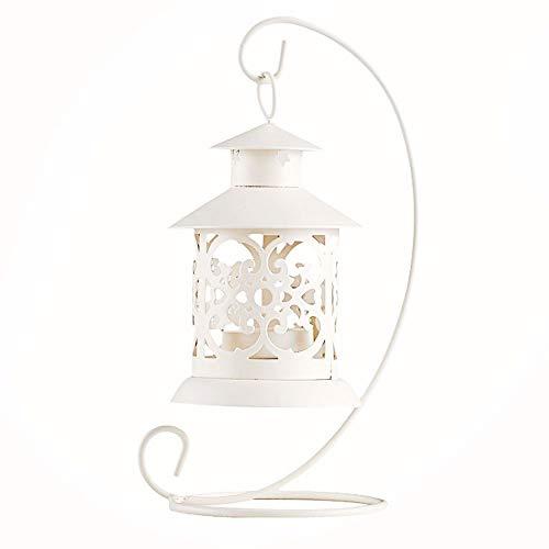 Unicoco Candeliere di Ferro Vuoto,Candelabro in Metallo Stile Marocchino Candeliere Ciondolo con Tavolo da Vino Rosso(Bianco)