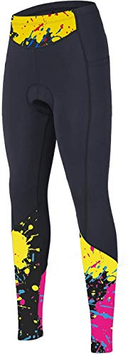 beroy Women 3D Padded Cycling Pants with Adjust Drawstring,Ladies Compression Tights Bike Pants(L Yellow)