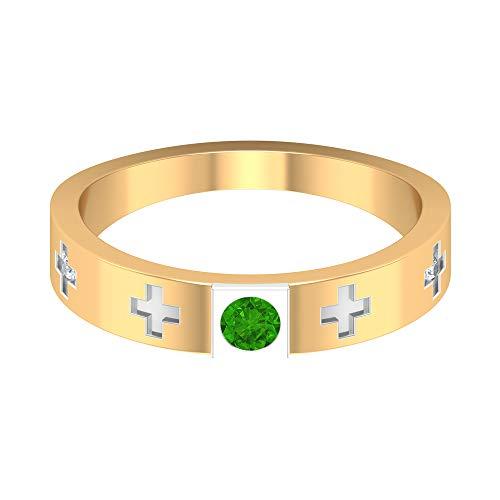 Rosec Jewels 14 quilates oro amarillo redonda round-brilliant-shape H-I Green Diamond Creado en laboratorio de tsavorita