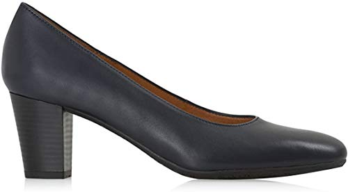 Aerobics Barcelona Black And Navy Blue Mid Heel Crew Shoe/Cabin Shoe with Padded Insole, Navy blue,...
