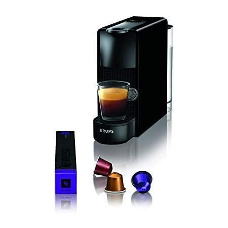 Krups Nespresso Essenza Mini XN1108 - Cafetera monodosis de cápsulas Nespresso, compacta, 19 bares, apagado automático, color negro, Pack Cápsulas bienvenida incluido