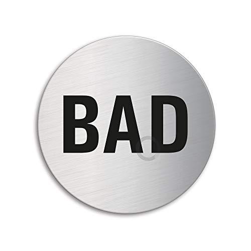 Schild - Bad | Badezimmerschild | Türschild aus Edelstahl Ø 75 mm selbstklebend | Original Ofform Design Nr.8484