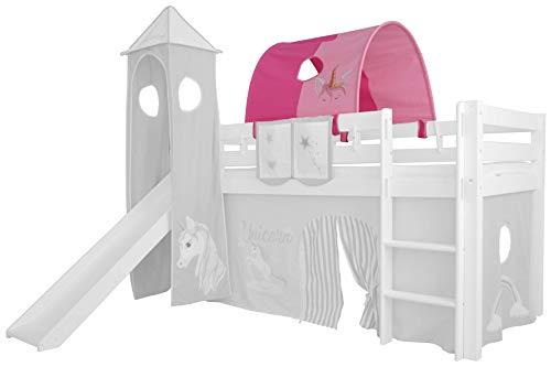 XXL Discount Tunnel pour lit d'enfant - 100 % coton - Auvent - Toit de lit mezzanine - Lit superposé - Lit d'enfant - Rose / rose - Licorne - Support en bois blanc)