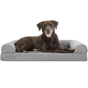 Furhaven Pet Dog Bed – Orthopedic Faux Fur and Velvet Traditional Sofa-Style Living Room Couch Pet Bed with Removable Cover for Dogs and Cats, Smoke Gray, Large