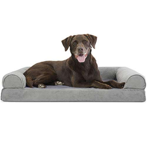 Furhaven Pet Dog Bed - Orthopedic Faux Fur and Velvet Traditional Sofa-Style Living Room Couch Pet Bed with Removable Cover for Dogs and Cats, Smoke Gray, Large