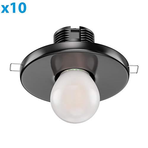 ledscom.de E27 Porzellan Decken-Einbauleuchte TELA, rund, schwarz, 99mm, inkl. Frostglas Leuchtmittel 4W=33W 360lm warm-weiß A++, 10 Stk.